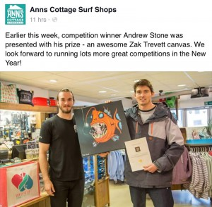 Tweet from the guys at Ann's Surf Shop, Cornwall